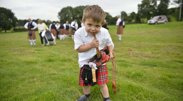 PACEMAKER BELFAST 27/08/2016 The Royal Black Preceptory parade in Castlederg Co Tyrone this afternoon. Pictured is Ethan Burke aged 3. Photo Mark Marlow/Pacemaker Press