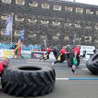 Press Eye Belfast - Northern Ireland 26th August 2016 Ultimate Strongman Master World Championship 2016 at Crumlin Road Gaol in Belfast. Discipline 1: 200 kg Duck Walk and 400kgTyre Flip,20m course ,90secs x 4 lanes Picture by Jonathan Porter/Press Eye