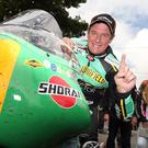 Top man: John McGuinness after his first Classic TT victory when he set a class lap record of 113.342mph