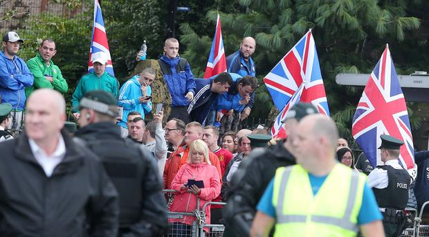 Press Eye Belfast - Northern Ireland 26th August 2016 Henry Joy McCracken Republican parade and Loyalist protest at Carlisle Circus in north Belfast. Henry Joy McCracken was a Protestant who was hung for his involvement in the 1798 United Irish Men rebellion. Picture by Jonathan Porter/Press Eye