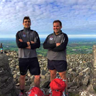 Richard Millar (left) and Jamie Wilson on Slieve Gullion after completing their 24 hour challenge.
