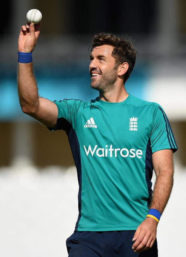 Looking ahead: Liam Plunkett during England's nets session yesterday
