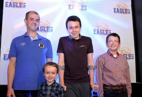 Alan Hawe from Ballyjamesduff, Cavan pictured with his sons (l-r) Ryan (6), Liam (13) and Niall (11) at a East Cavan Eagles basketball team