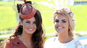 Press Eye - Belfast - Northern Ireland 29th August 2016 Kirsty Farrell and Emma Hanratty pictured at the Ladies Day meeting at Downpatrick Racecourse. Photo by Kelvin Boyes / Press Eye.