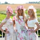 Press Eye - Belfast - Northern Ireland 29th August 2016 Stephanie McGall, Kellyleigh Anderson and Lauren Moore pictured at the Ladies Day meeting at Downpatrick Racecourse. Photo by Kelvin Boyes / Press Eye.
