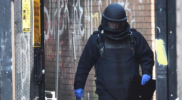 The scene of a security alert in the Beechmount Crescent Area of West Belfast on Tuesday. Pupils from St Paul's Primary School have been evacuated to the Mica Day Centre due to a suspect package. Pacemaker Press