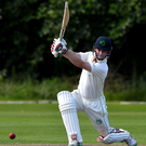 Among the runs: William Porterfield on his way to 88 against Hong Kong at Stormont yesterday