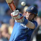 Ton up: Alex Hales powered to an England record of 171 runs