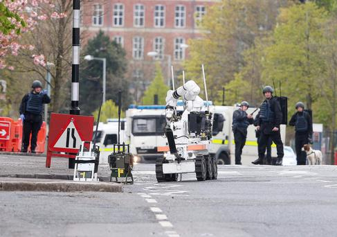 Army bomb disposal experts at the incident in Brompton Park, Belfast, last year