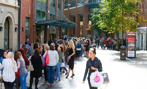 The huge queue as Kiko Milano opened in Belfast yesterday