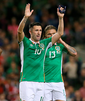 Goodbye: Robbie Keane salutes the fans in Dublin last night during his last game for the Republic of Ireland