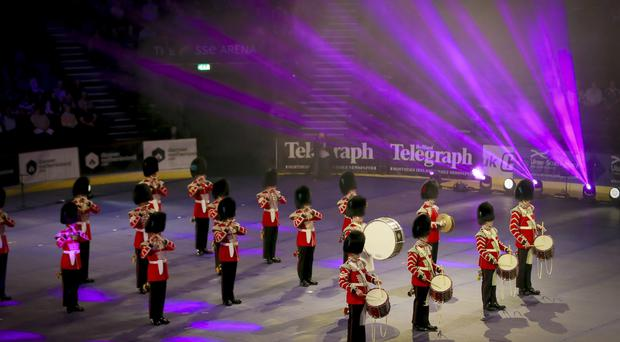 Combined Coldstream and Irish Guards The Belfast Tattoo takes place at the SSE Arena in Belfast , Northern Ireland on September 1st 2016 ( Photo by Kevin Scott / Belfast Telegraph )