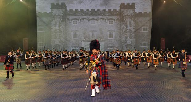 The massed pipes and drums pictured during final rehearsals on Wednesday 31st August for the 2016 Belfast Tattoo which will be on Thursday, 1st, Friday 2nd & Saturday 3rd September. Senior drum major Brian Wilson MBE (foreground of photo) is wearing the Belfast Tattoo Tartan specially designed and made for the Belfast Tattoo.