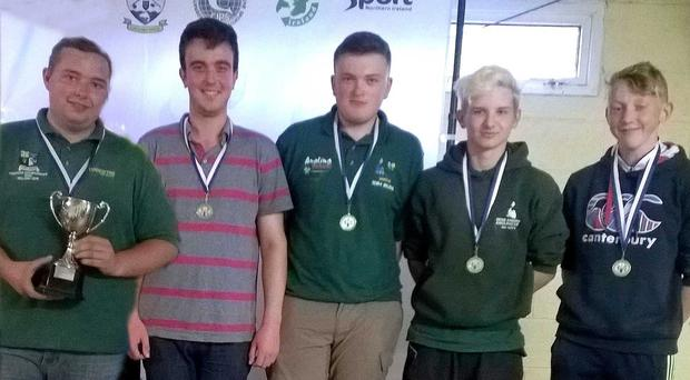 The Ulster team of Stephan Patterson, Jordan Hall, Harry Whitehead, Conor Gaughan and Aaron Galbraith who retained their Inter-Provincial title