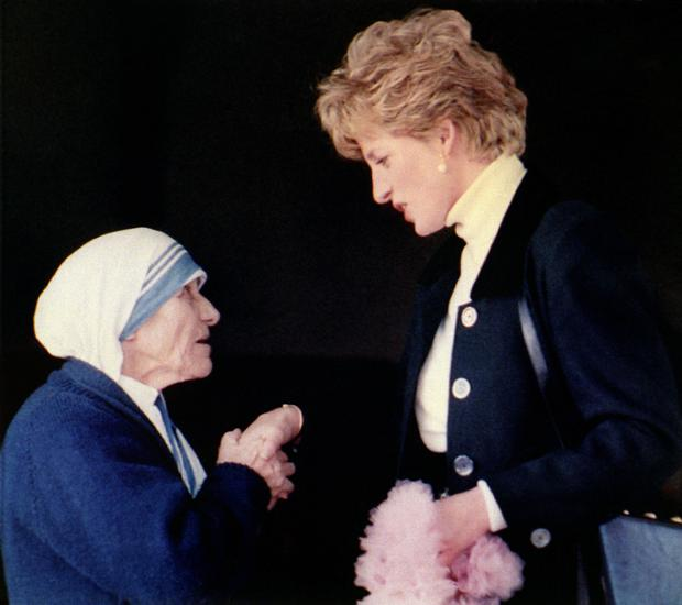 Mother Teresa meets Diana, Princess of Wales, in February 1992. Photo: PA Wire