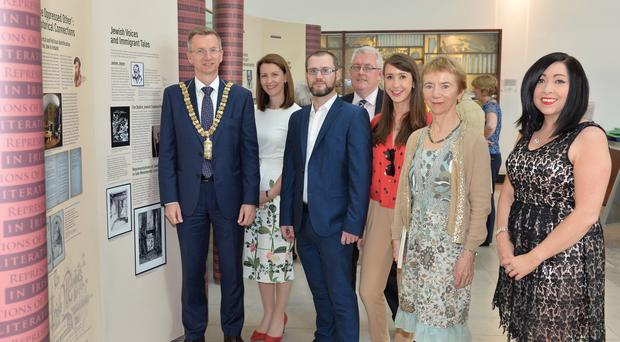 From left, Belfast Lord Mayor Brian Kingston, Prof Cathy Gormley-Heenan, Barry Montgomery, lead researcher, Prof Pol O Dochartaigh, principal investigator, Dr Ruth Gilligan, Brid Vi Mhorain and Marie-Claire Peters from University of Ulster
