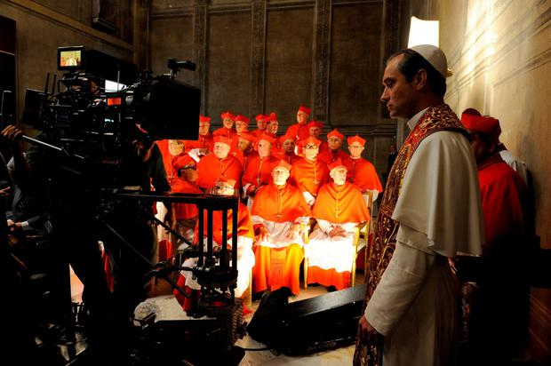 Undated handout photo issued by Sky of Jude Law on the set of The Young Pope, which has its world premiere at the 73rd Venice Film Festival this weekend. PA