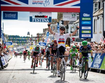 Lotto Soudal's Andre Greipel crosses the line to win stage one of the 2016 Tour of Britain. PRESS ASSOCIATION Photo. Picture date: Sunday September 4, 2016. See PA story CYCLING Tour of Britain. Photo credit should read: Craig Watson/PA Wire.