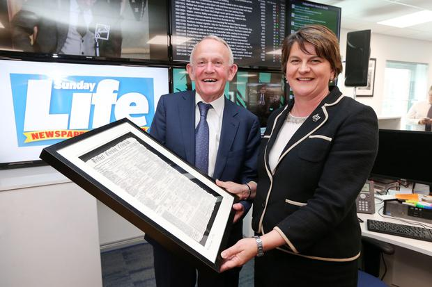Press Eye - Belfast - Northern Ireland - 1st September 2016 - First Minister, Arlene Foster officially opened the new headquarters of Independent News & Media (INM) Ltd in Northern Ireland. The First Minister is pictured with Leslie Buckley, Chairman, Independent News & Media PLC. Photo by Kelvin Boyes / Press Eye