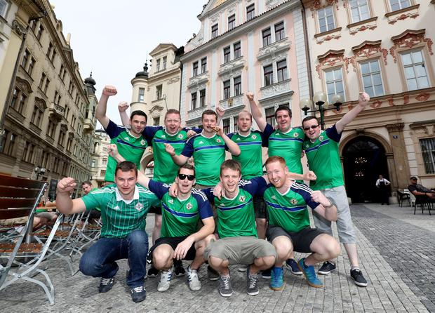 Press Eye - Belfast - Northern Ireland - 04th September 2016 - Photo by William Cherry Northern Ireland fans ahead of Sundays World Cup 2018 Qualifier against the Czech Republic at the Generali Arena, Prague.