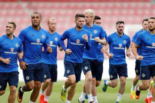 Northern Ireland players during a training session at the Generali Arena, Prague. PRESS ASSOCIATION Photo. Picture date: Saturday September 3, 2016. See PA story SOCCER N Ireland. Photo credit should read: Paul Harding/PA Wire. RESTRICTIONS: Editorial use only, No commercial use without prior permission, please contact PA Images for further information: Tel: +44 (0) 115 8447447.