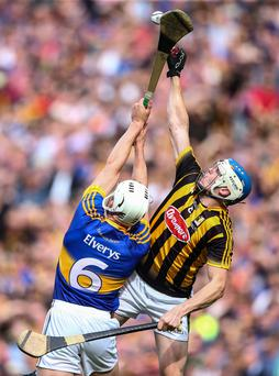 High and mighty: Kilkenny's TJ Reid and Ronan Maher of Tipperary battle