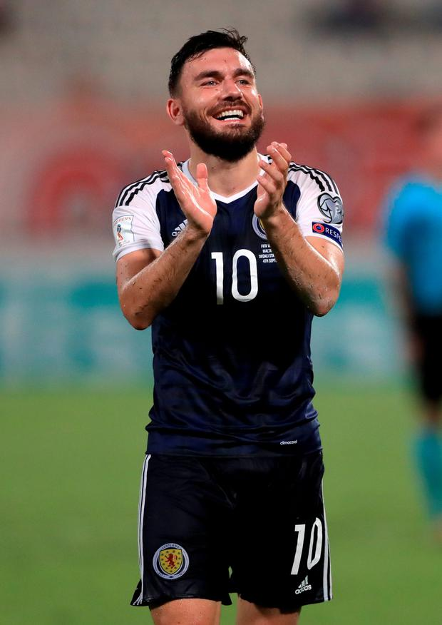 Lucky treble: Robert Snodgrass scored a hat-trick in Scotland's win