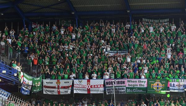 Northern Ireland fans at the Generali Arena in Prague. Photo Colm Lenaghan/Pacemaker Press