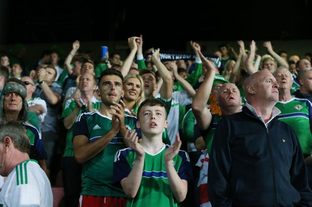 Northern Ireland fans after the draw with the Czech Republic in Sunday's World Cup 2018 Qualifier at the Generali Arena, Prague. William Cherry Press Eye