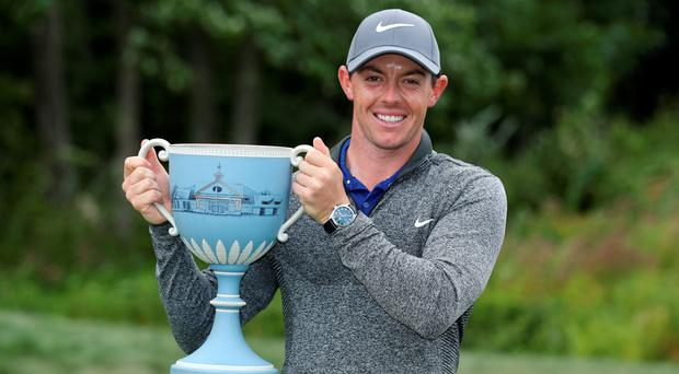 Rory McIlroy of Northern Ireland poses with the trophy during the final round of the Deutsche Bank Championship at TPC Boston on September 5, 2016 in Norton, Massachusetts. (Photo by David Cannon/Getty Images)