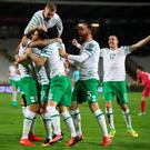Republic of Ireland's Jeff Hendrick (left) celebrates scoring his side's first goal of the game with teammates during the 2018 FIFA World Cup Qualifying, Group D match at the Rajko Mitic Stadium, Belgrade. PA