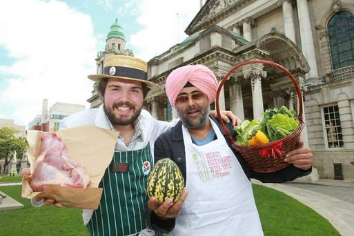 Sandy Cole of Broughgammon with TV and radio presenter Hardeep Singh Kohli at Belfast City Hall