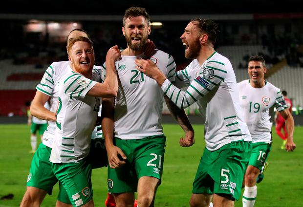 Republic of Ireland's Daryl Murphy (centre) celebrates scoring his sides second goal of the game during the 2018 FIFA World Cup Qualifying, Group D match at the Rajko Mitic Stadium, Belgrade. PA