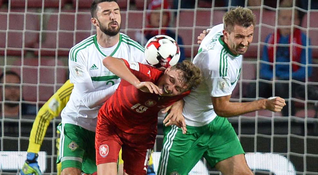 Doubling up: Conor McLaughlin and Gareth McAuley nullify the threat posed by the Czech Republic's Ladislav Krejci