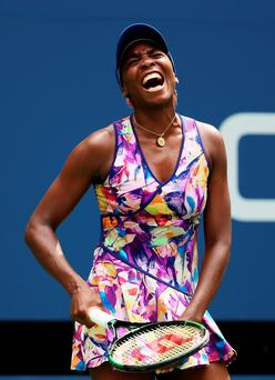 Anguish: Venus Williams exits the US Open in New York last night