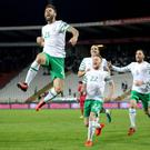 Hitting heights: Daryl Murphy celebrates his equaliser for the Republic of Ireland against Serbia in Belgrade last night