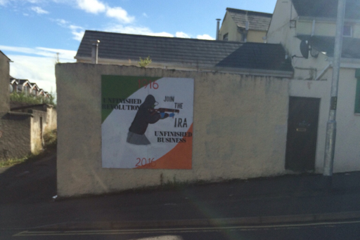 IRA recruitment poster in the Bogside area of Derry.