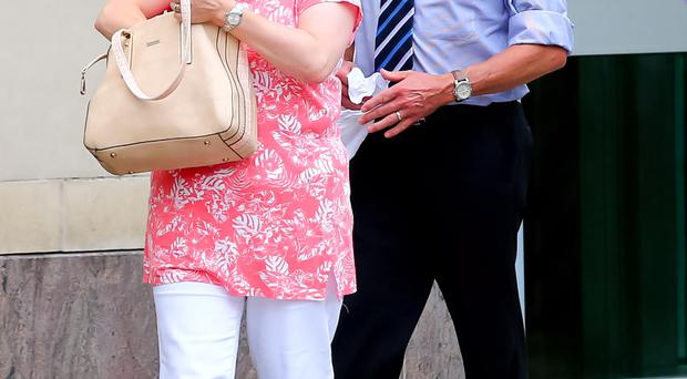 Mark Mackay's parents outside court in Belfast yesterday