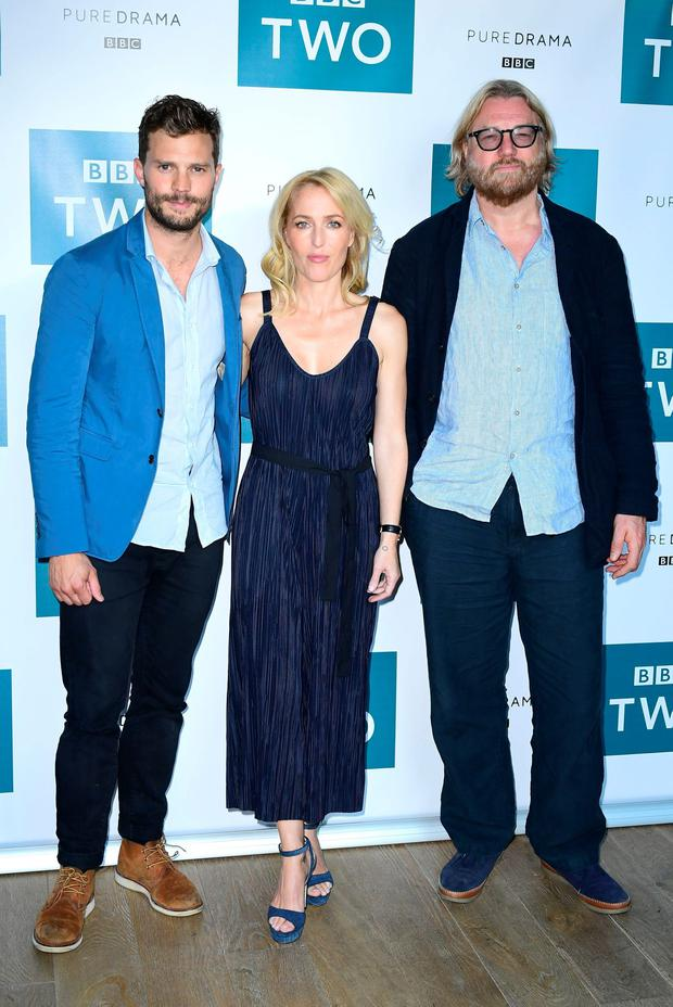 (Left to right) Jamie Dornan, Gillian Anderson and Allan Cubitt attend a screening of the third series of BBC Two drama The Fall, at the BFI in London. PA