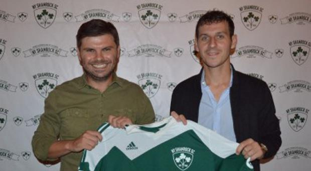 Welcome: Shamrocks coach Kevin Grogan with Jamie Clarke