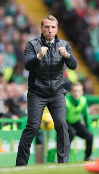 Standing firm: Celtic boss Brendan Rodgers will be involved in first Old Firm clash