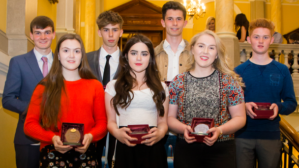 Jamie Phillips, Ruairi Richman, Connor Dudley-Fergus, Darrell Smith, Alana Harron, Maeve Bradley and Niamh Doherty with their awards