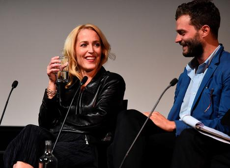 Gillian Anderson and Jamie Dornan take part in Q&A following the screening of BBC Two drama 'The Fall' to launch series three at BFI Southbank on September 7, 2016 in London, England. (Photo by Eamonn M. McCormack/Getty Images)