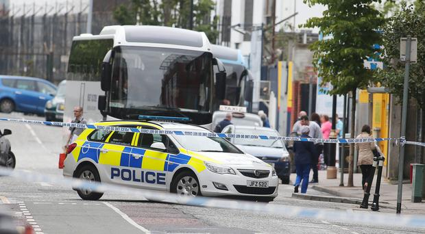 The scene on Great Victoria Street in Belfast City Centre on Thursday morning. Picture by Jonathan Porter/Press Eye