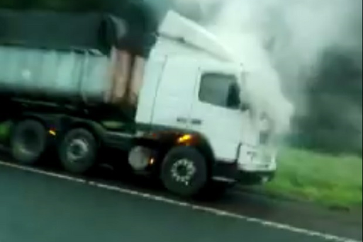 A lorry went on fire on the M2 on-slip at Rathbeg on Thursday morning.