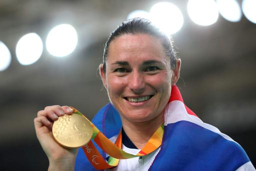 Great Britain's Sarah Storey on the podium after winning gold in the Women's C5 3000m Individual Pursuit Final at the Rio Olympic Velodrome during the first day of the 2016 Rio Paralympic Games in Rio de Janeiro, Brazil. PA