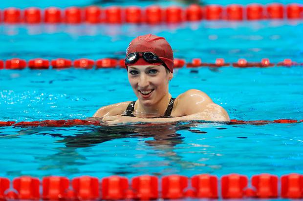 Bethany Firth of Great Britain celebrates winning the gold medal in the Women's 100m Backstroke - S14 Final on day 1 of the Rio 2016 Paralympic Games at the Olympic Aquatics Stadium on September 8, 2016 in Rio de Janeiro, Brazil. (Photo by Buda Mendes/Getty Images)