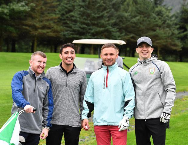 Belfast Boxers from L-R Paddy Barnes , Jamie Conlan, Carl Frampton and Michael Conlan during a Golf tournament in memory of Oscar Knox at Fortwilliam Golf Club in Belfast on Friday. Oscar Knox, the little boy who captured the hearts of people around the world as he fought a rare form of cancer. Picture Pacemaker
