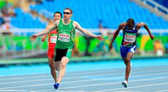 Ireland's Jason Smyth takes gold in the Men's 100m T13 Final held at The Olympic Stadium during the second day of the 2016 Rio Paralympic Games in Rio de Janeiro, Brazil. PA