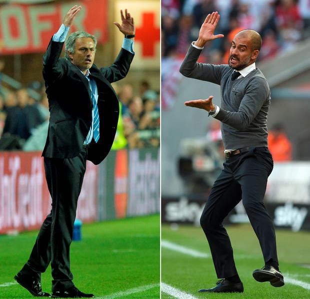 Manchester United manager Jose Mourinho and Man City boss Pep Guardiola